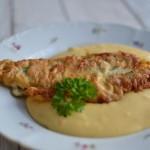 Treska v těstíčku s bramborovo-mrkvovým pyré